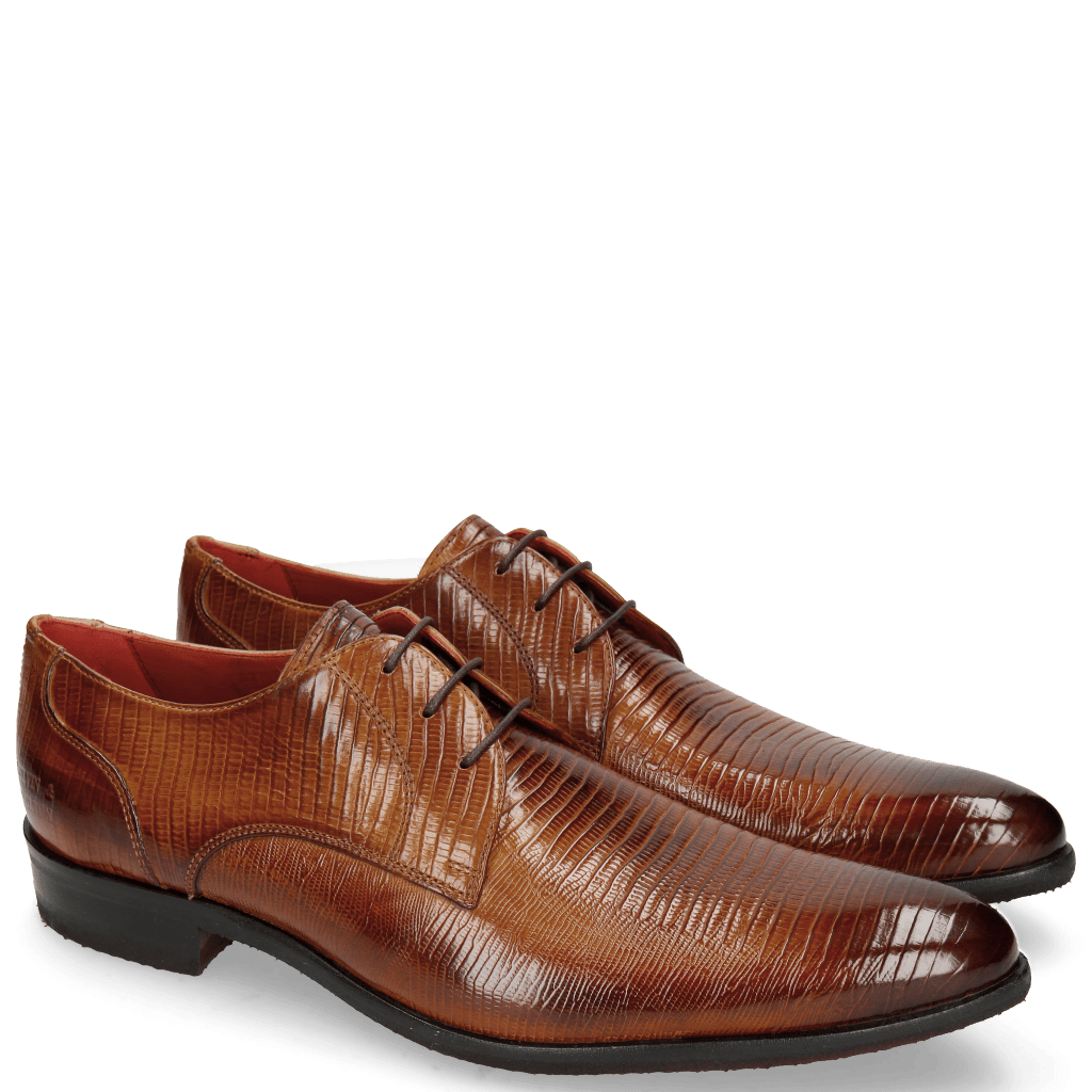 Derby shoes Toni 1 Lizzard Tan Lining Red