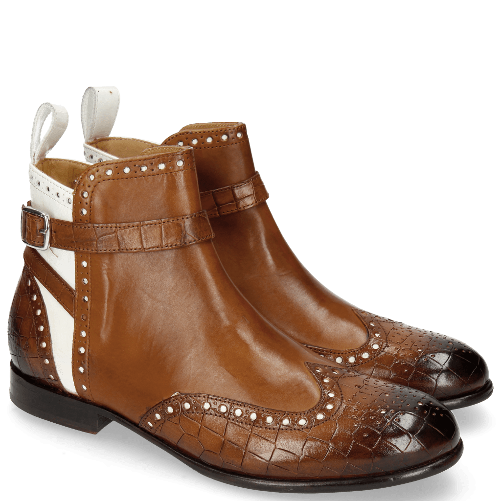 Ankle boots Sally 60 Crock Mid Brown Patent White