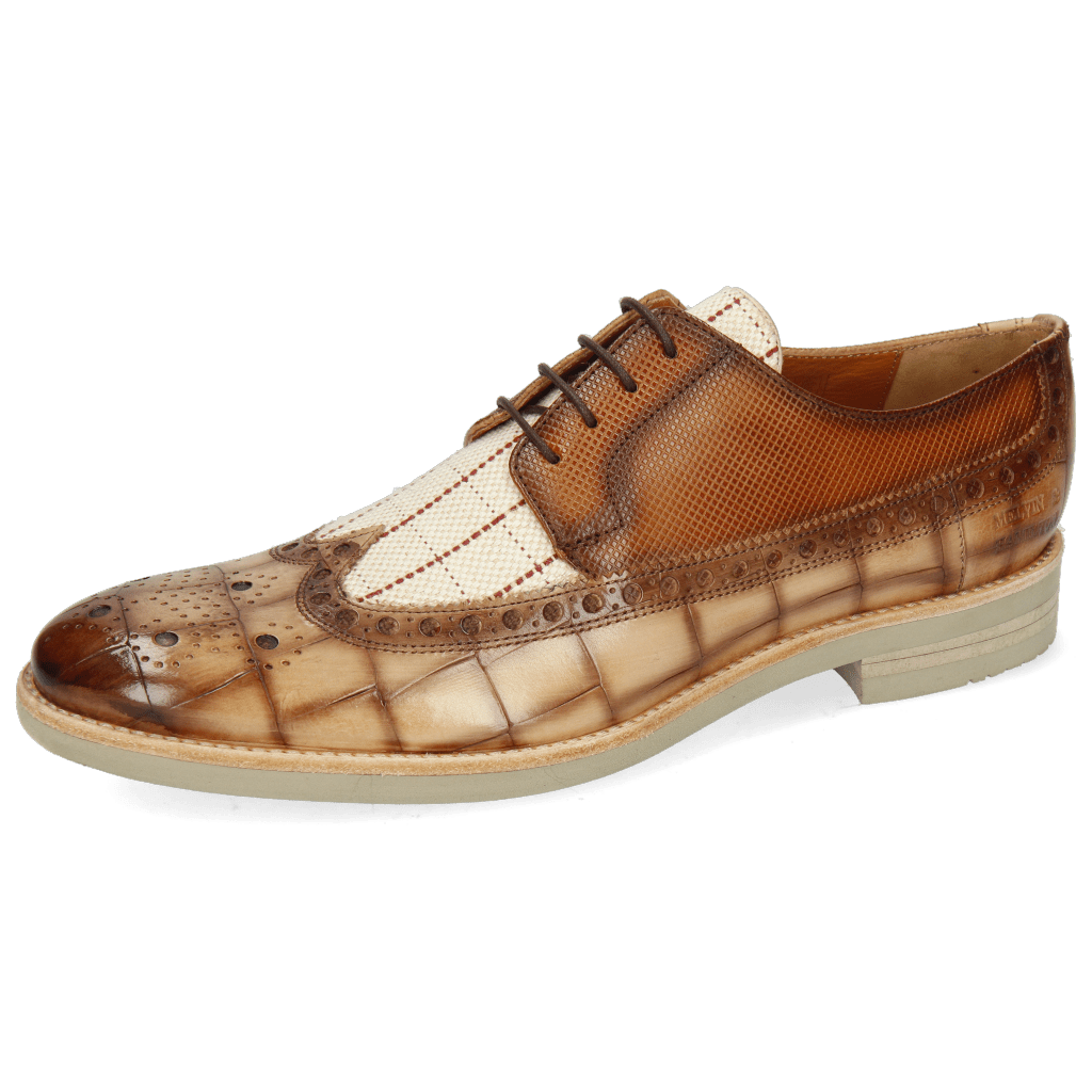 Derby shoes Clint 34  Turtle Nude Shade Jute Linen Check Dice Tan