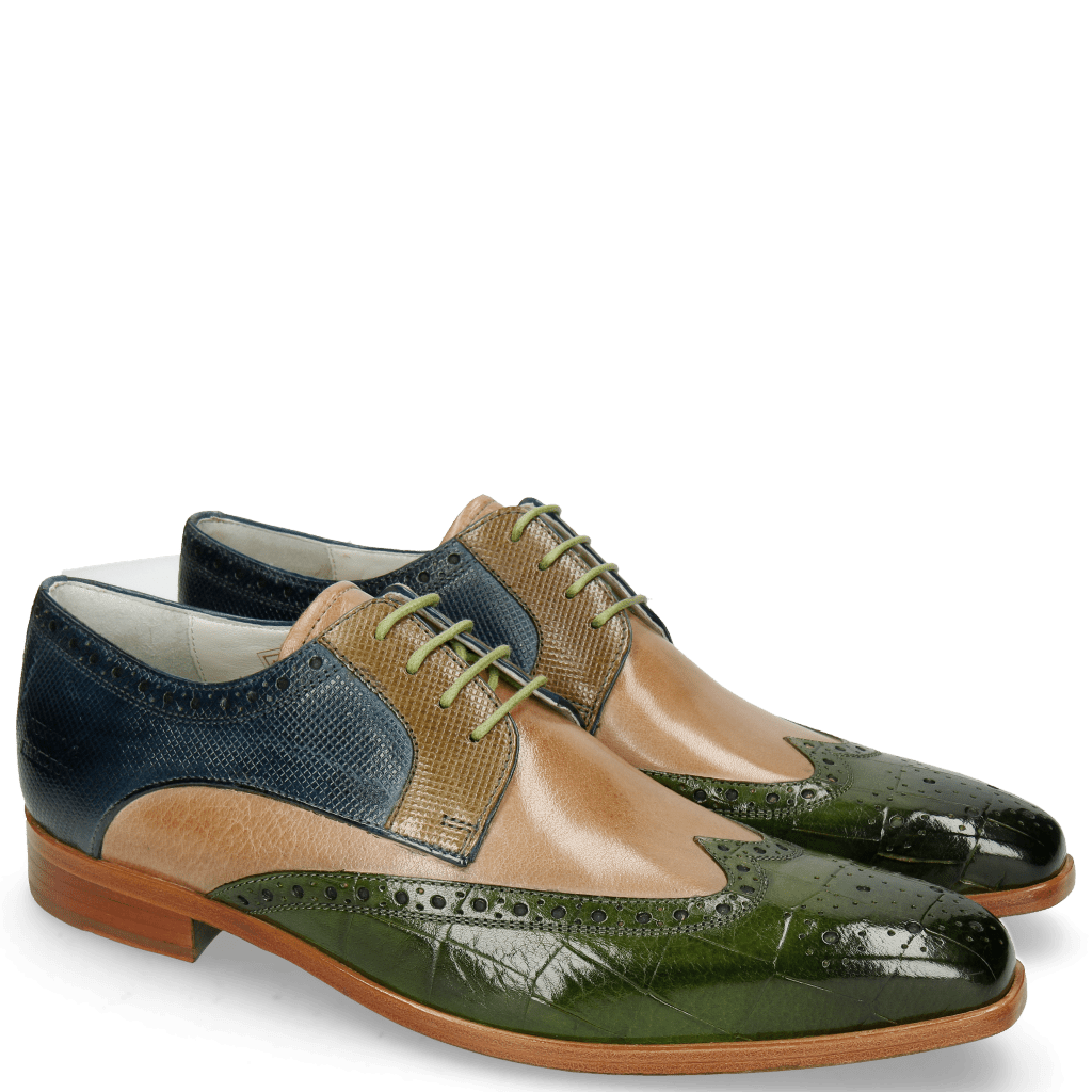 Derby shoes Lewis 3 Turtle Ultra Green Cappuccino Dice Olive Helio