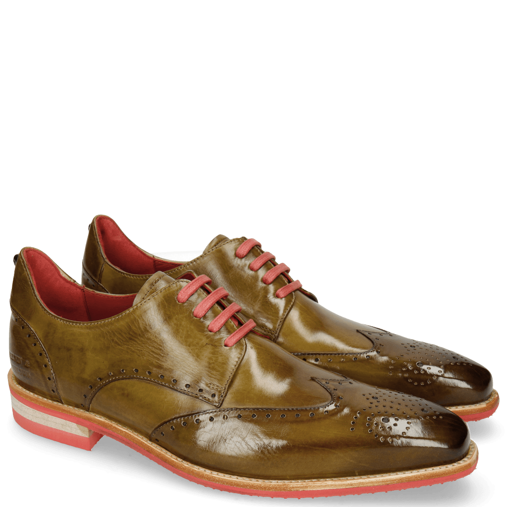 Derby shoes Dave 2 Olive Rivets Skull
