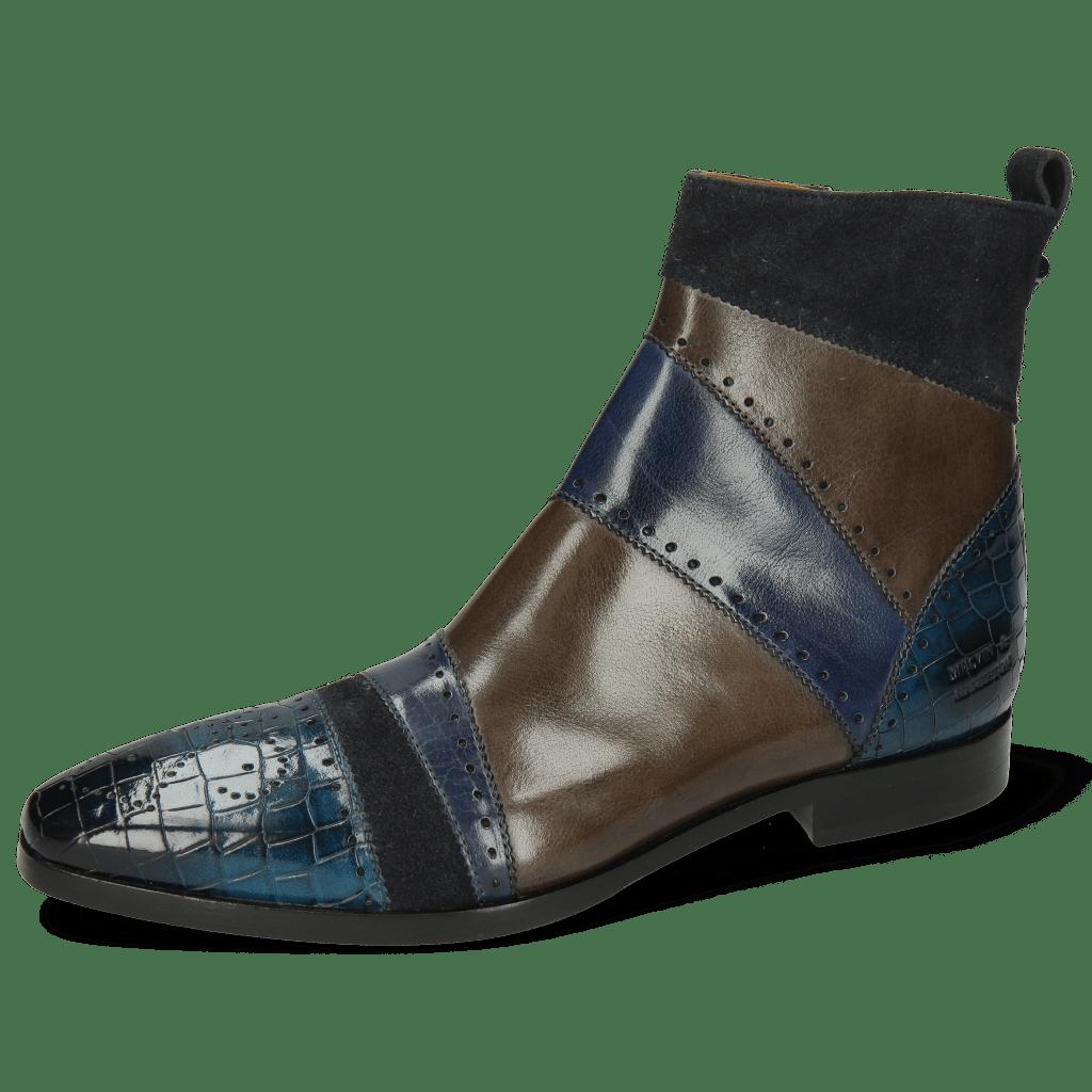 Ankle boots Elvis 26 Crock Mid Blue Suede Pattini Navy Wind Grigio