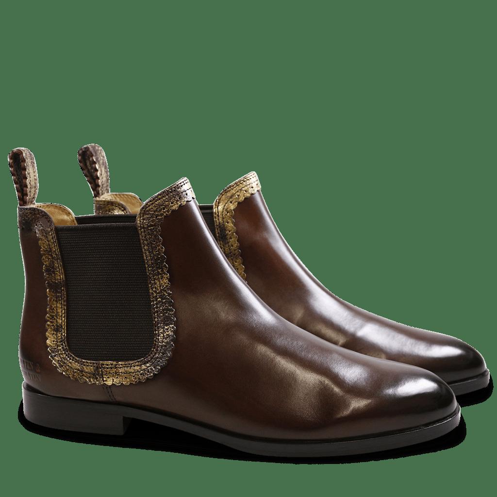 Ankle boots Susan 30 Dark Brown Gold Wine Elastic Dark Brown