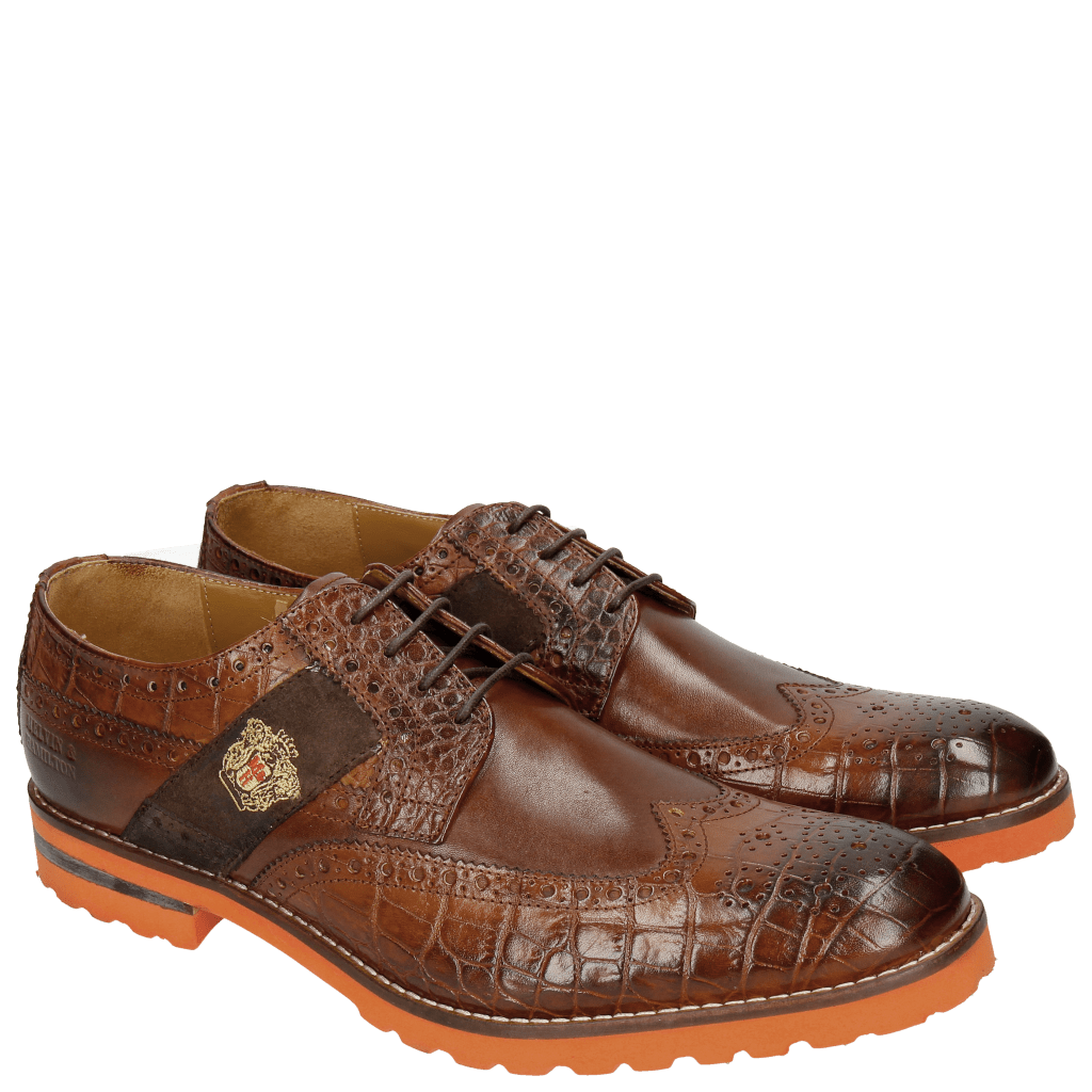 Derby shoes Eddy 25R Big Croco Brown Embrodery
