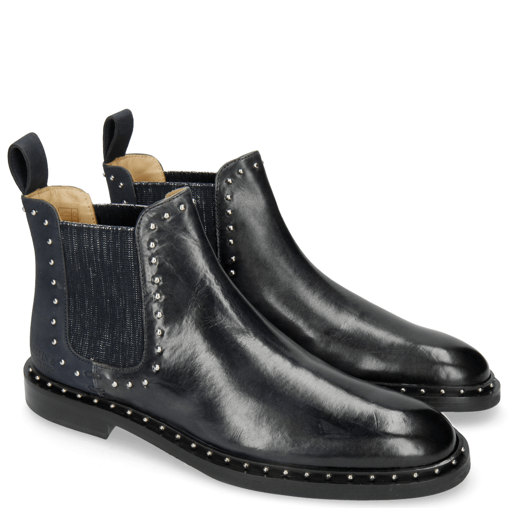 Ankle boots Susan 37 Navy Nubuck Abyss Elastic Glitter Navy Rivets