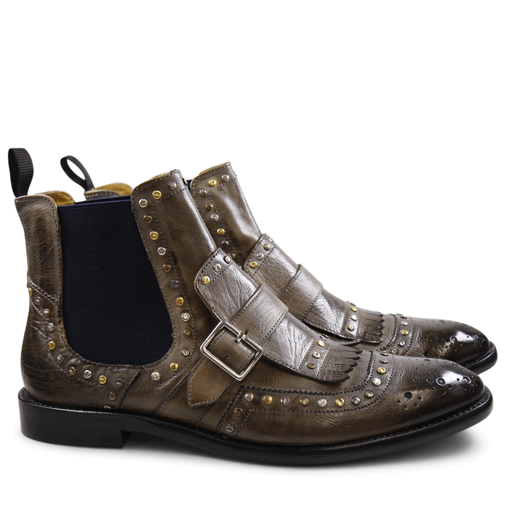 Ankle boots Eddy 21 Milano Smoke Mixed Rivets Elastic Navy LS Black