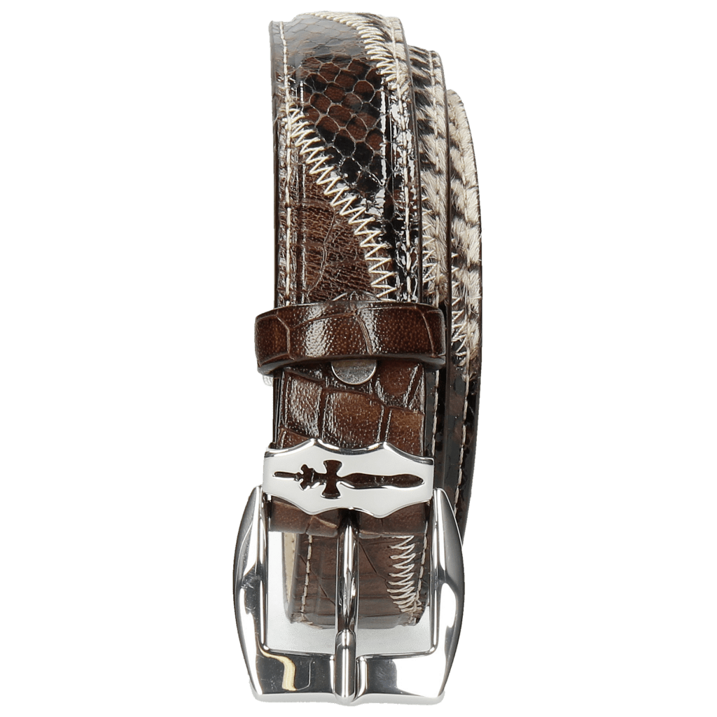 Belts Linda 2 Python Brown Tweed Black White Crock Mogano Sword Buckle