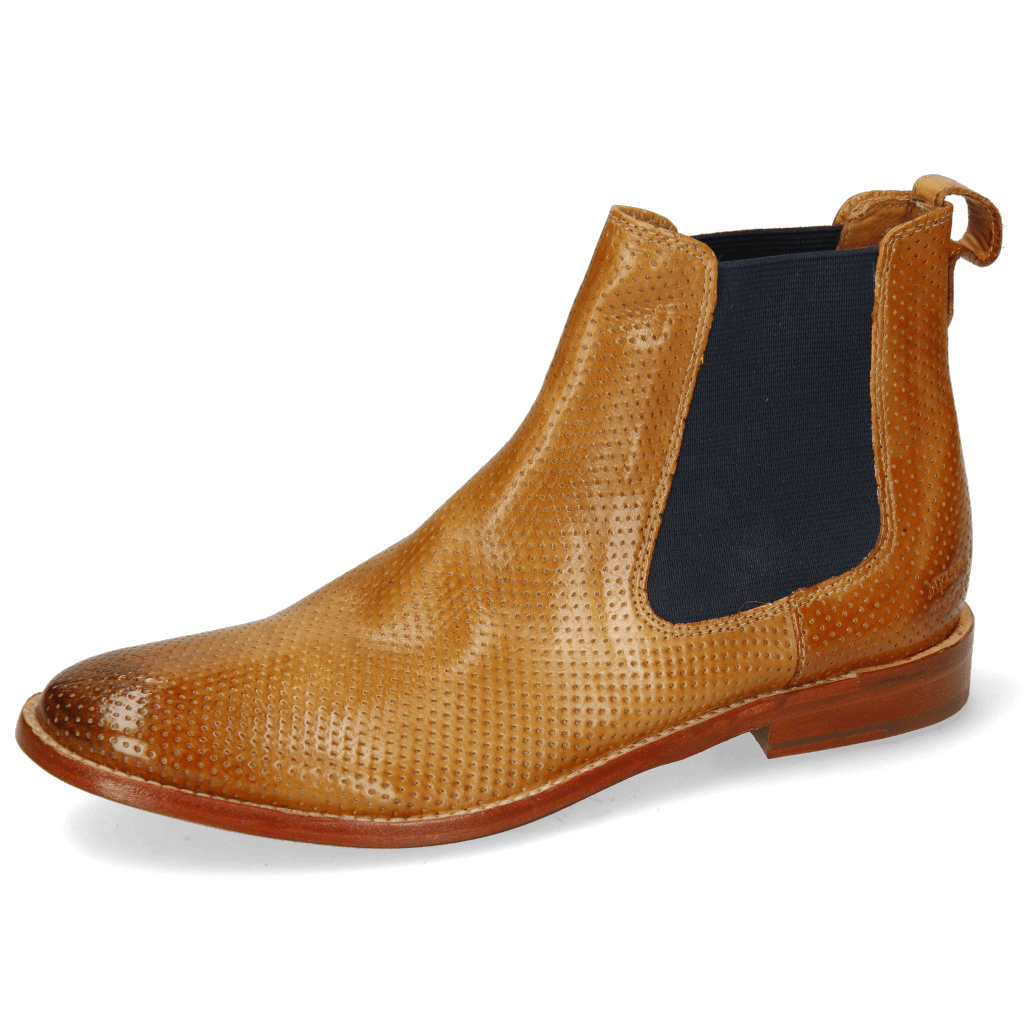 Ankle boots Amelie 12 Imola Perfo Tan Elastic Navy