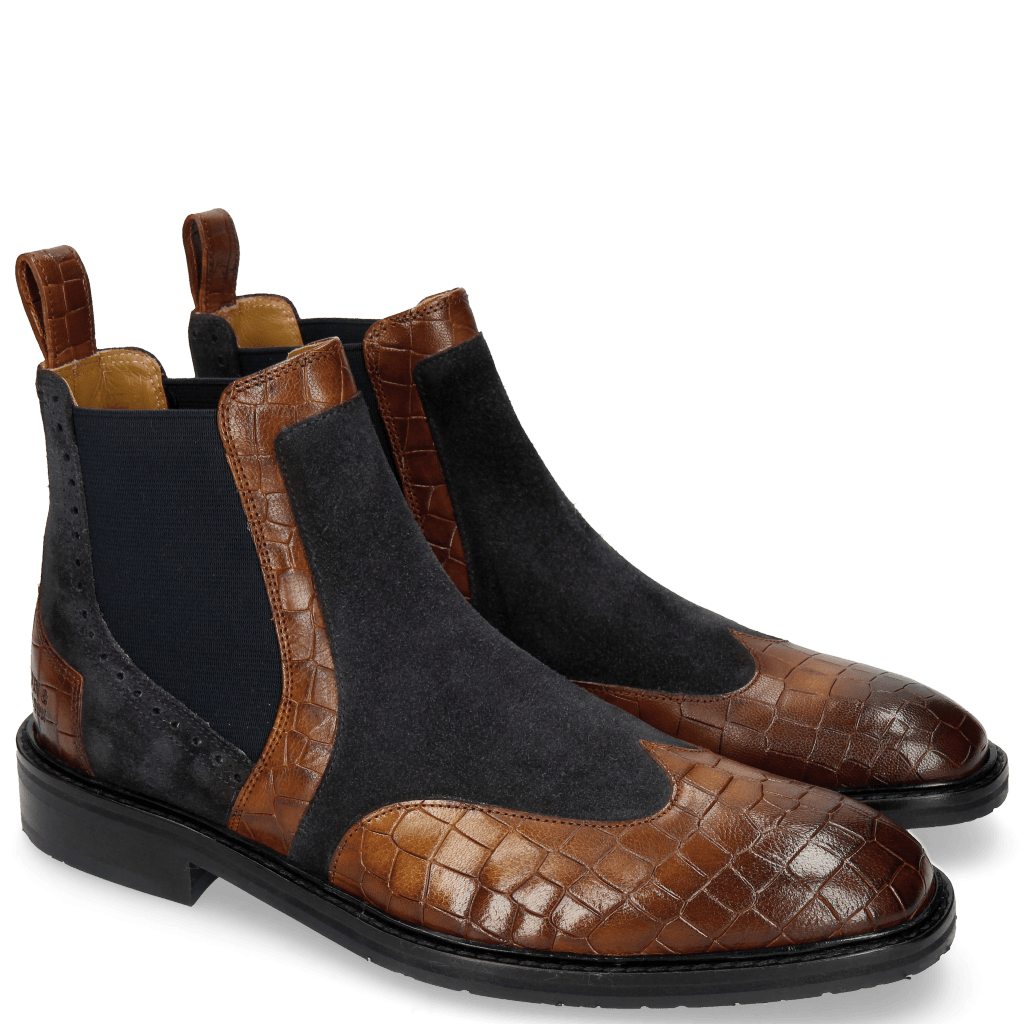 Ankle boots Logan 2 Venice Crock Mid Brown Suede Pattini Perfo Navy