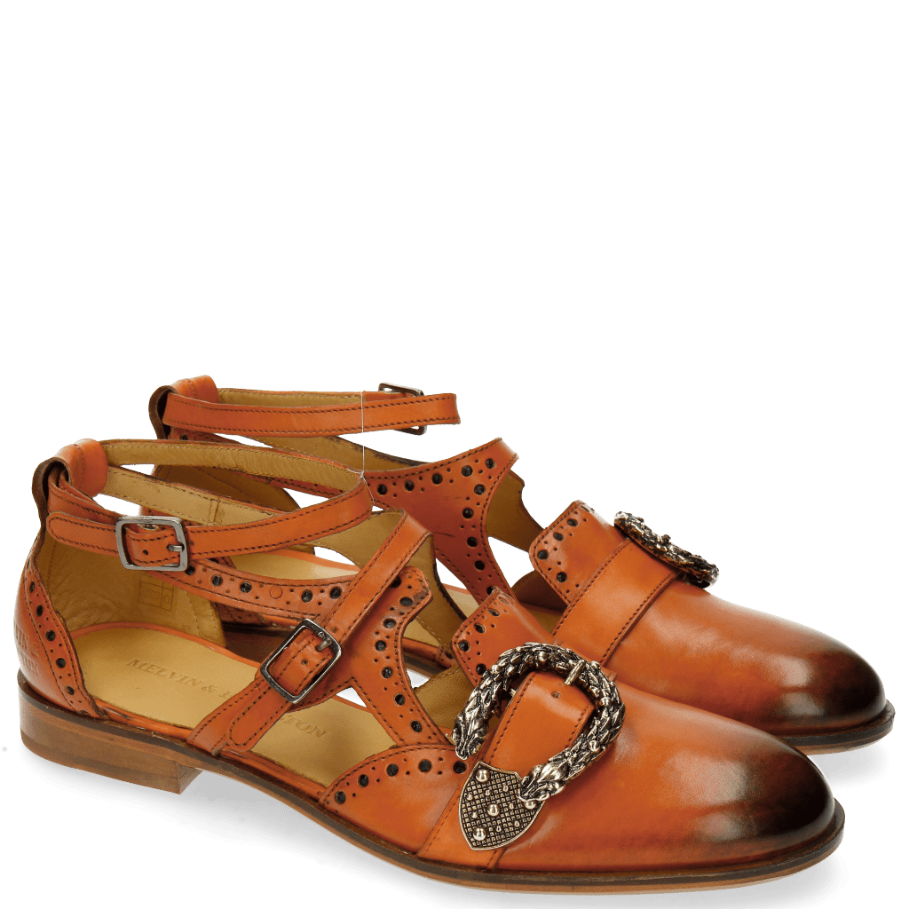 Sandals Sally 69 Orange Buckle Snake