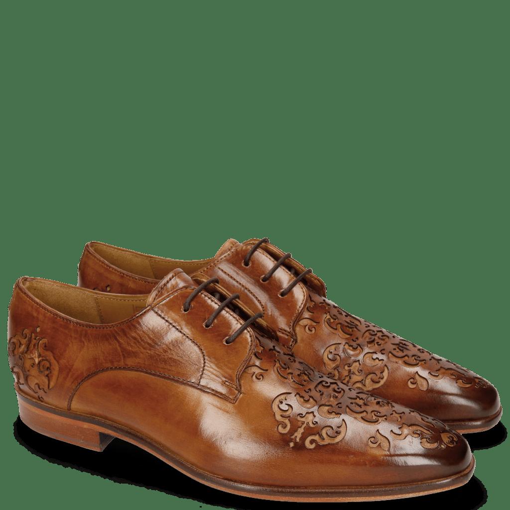 Derby shoes Emma 7 Tan Lasercut Ethnic