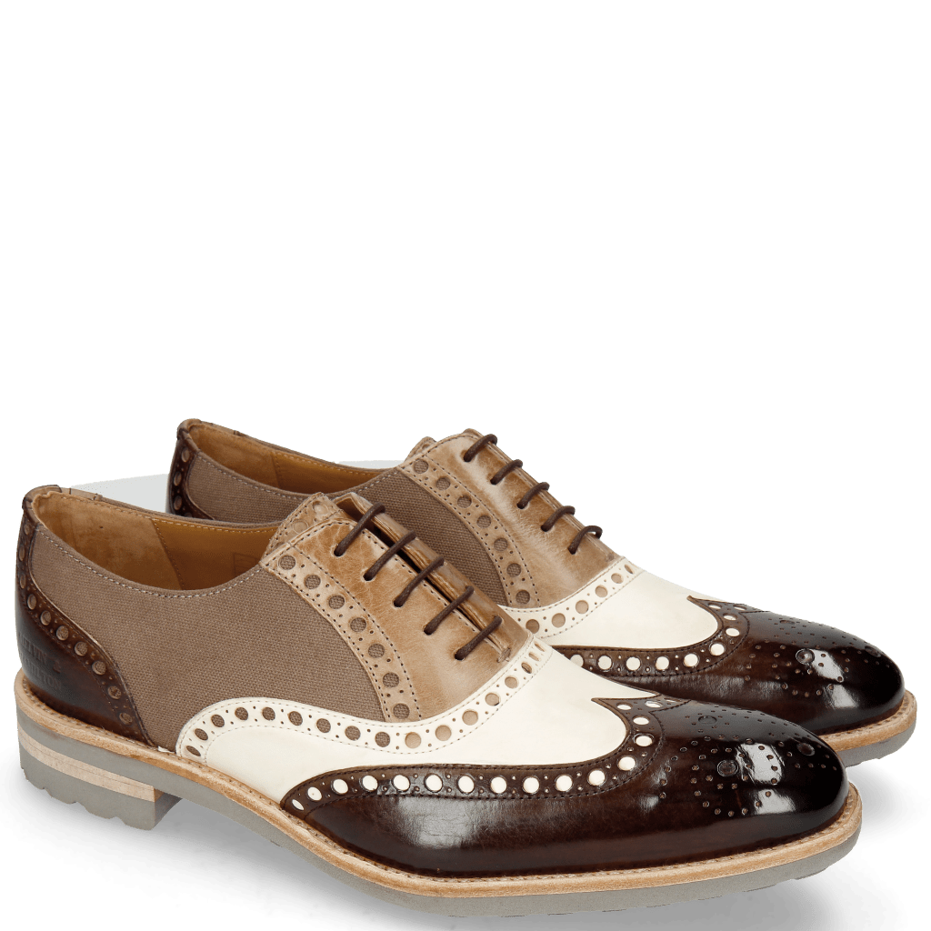 Oxford shoes Tom 26 Dark Brown White Oxygen Canvas Taupe