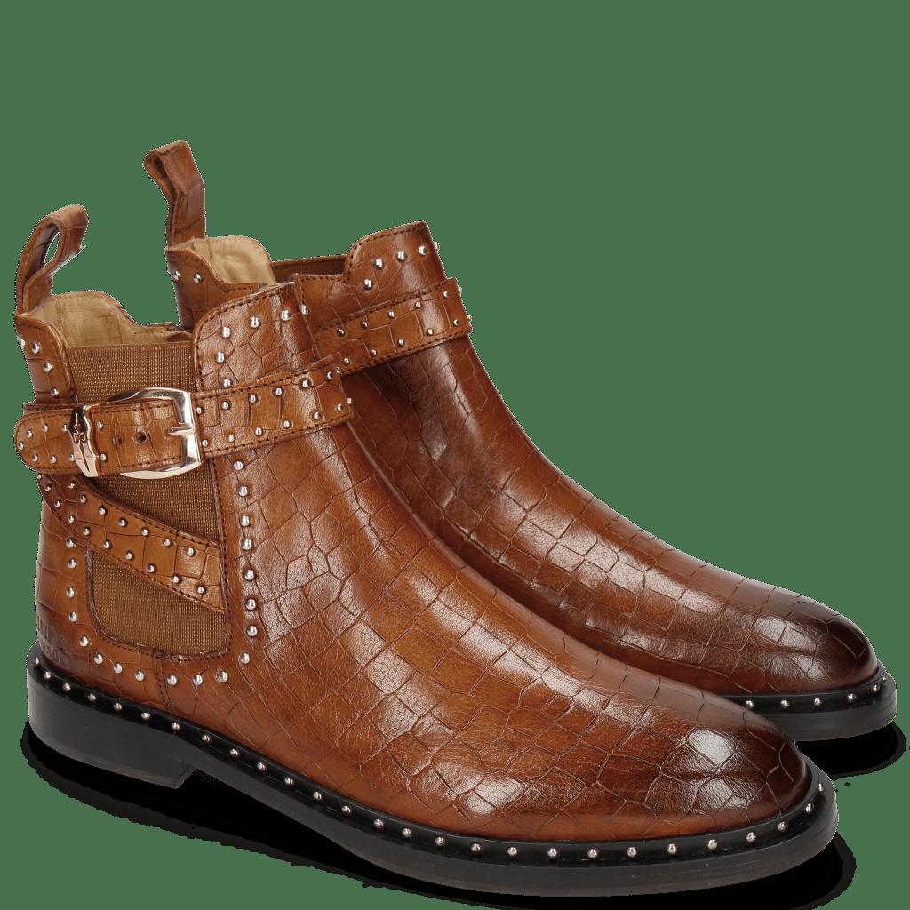 Ankle boots Susan 68 Crock Wood Elastic Glitter Tan Sword Buckle Rivet