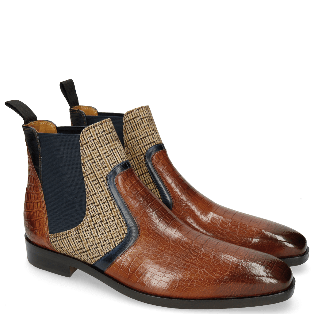 Ankle boots Lewis 26 Baby Croco Tan Navy Canvas English