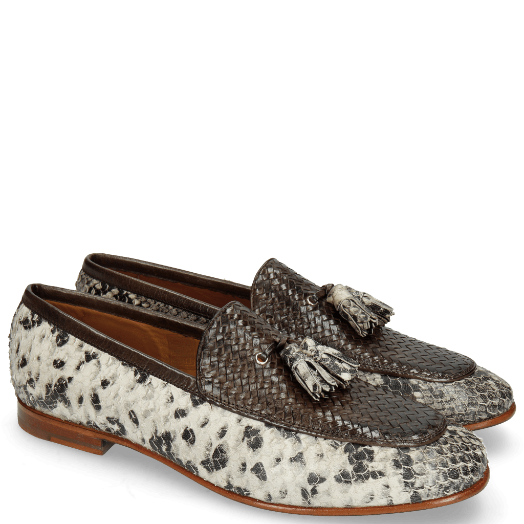 Loafers Clive 21 Snake Ivory Haring Bone Weave Dark Brown