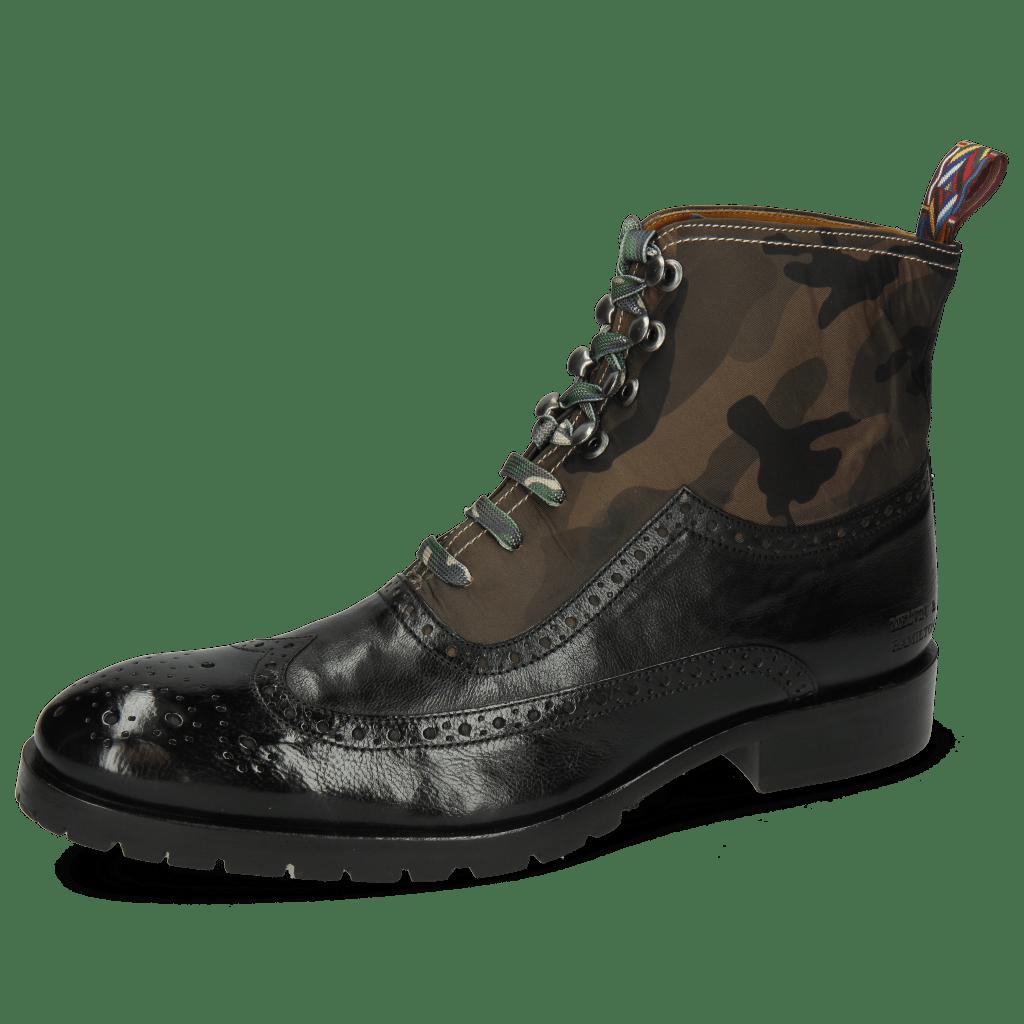 Ankle boots Patrick 21 Pisa Black Textile Camo Khaki