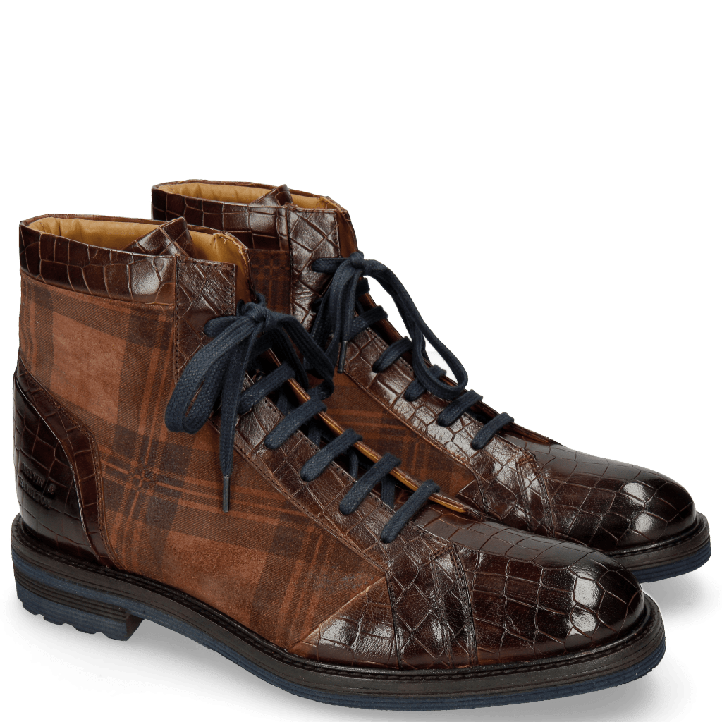 Ankle boots Trevor 18 Crock Mid Brown Suede Check Mogano