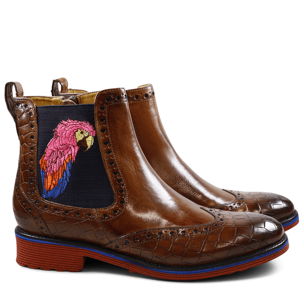 Ankle boots Amelie 47 Crock Crust Tobacco Tobacco Elastic Purple Embrodery Parrot Rook D Red EVA Blue