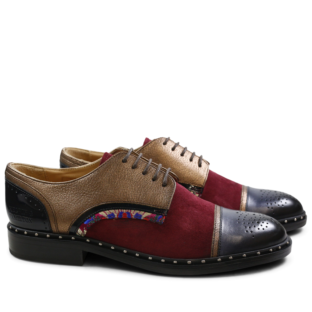 Derby shoes Sally 40 Nappa Aztek Suede Patent Korela Navy Bronze Burgundy HRS