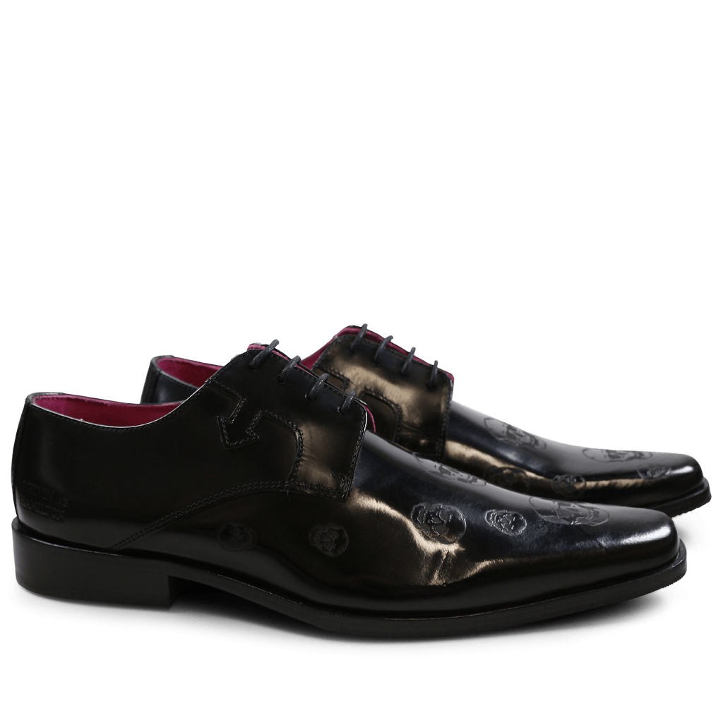 Derby shoes Mark 5 Brush Black Lasercut Skull New HRS