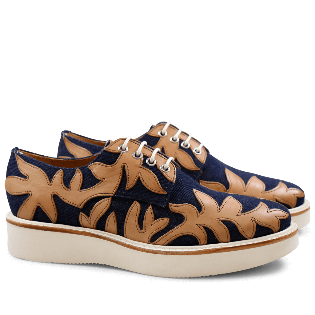 Derby shoes Molly 11 Jeans Navy Crust Tan XL Ginger White