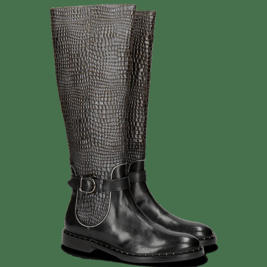 Boots Sally 59 Black Wellington Lead Binding Silver