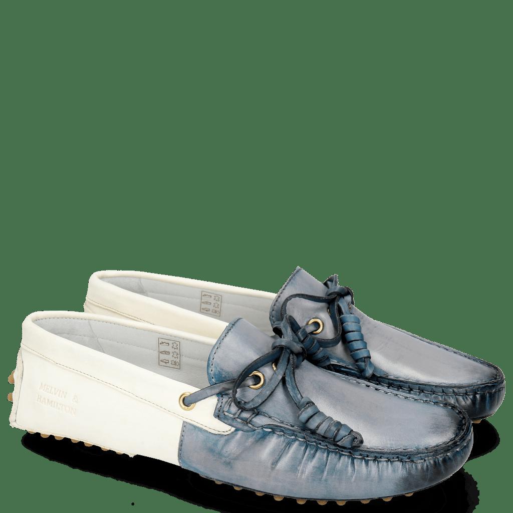 Loafers Caroline 8 Moroccan Blue Vegas White