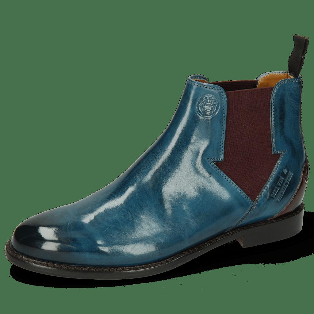 Ankle boots Selina 39 Mid Blue Elastic Burgundy