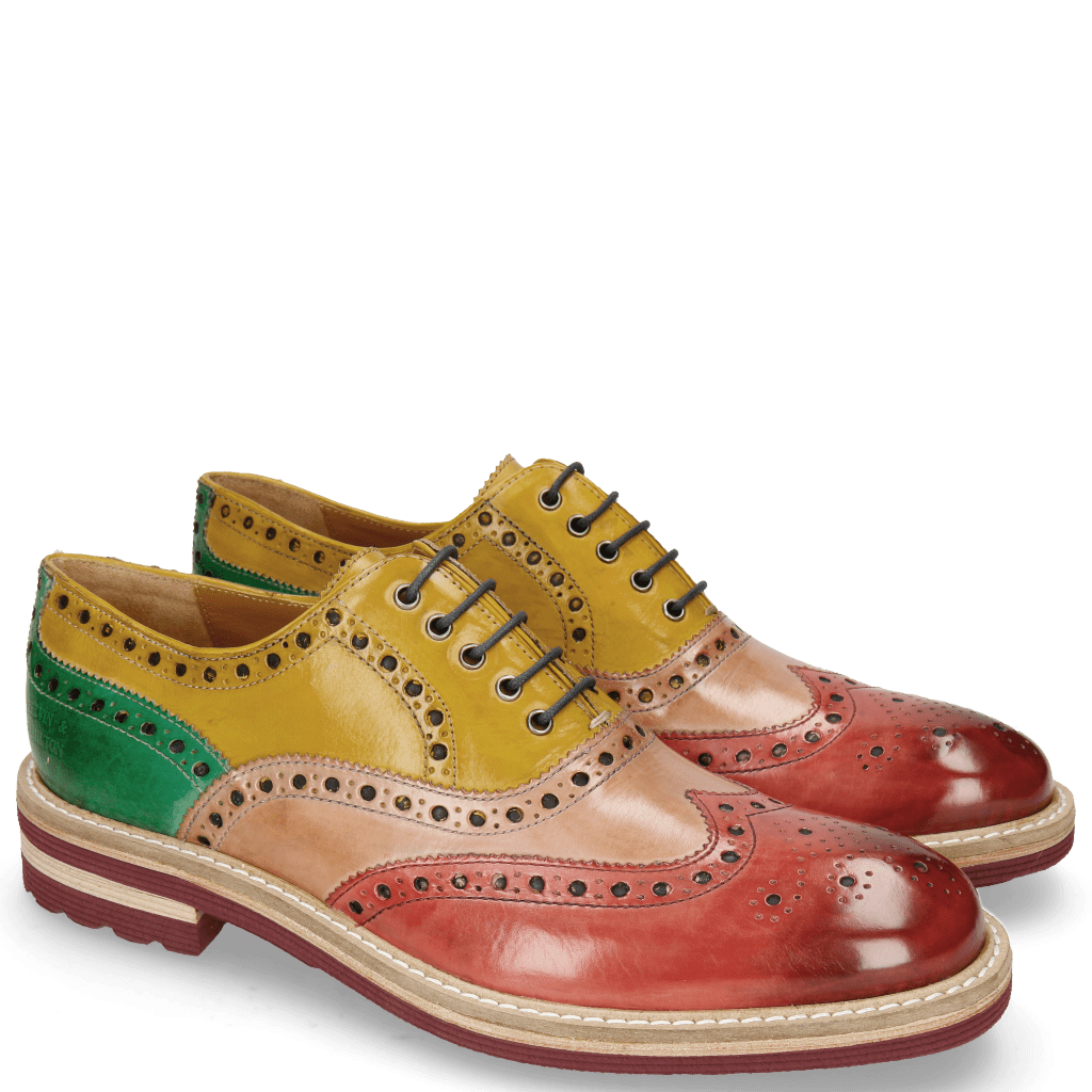 Oxford shoes Trevor 1 Rich Red Sun Electric Green Laces Navy