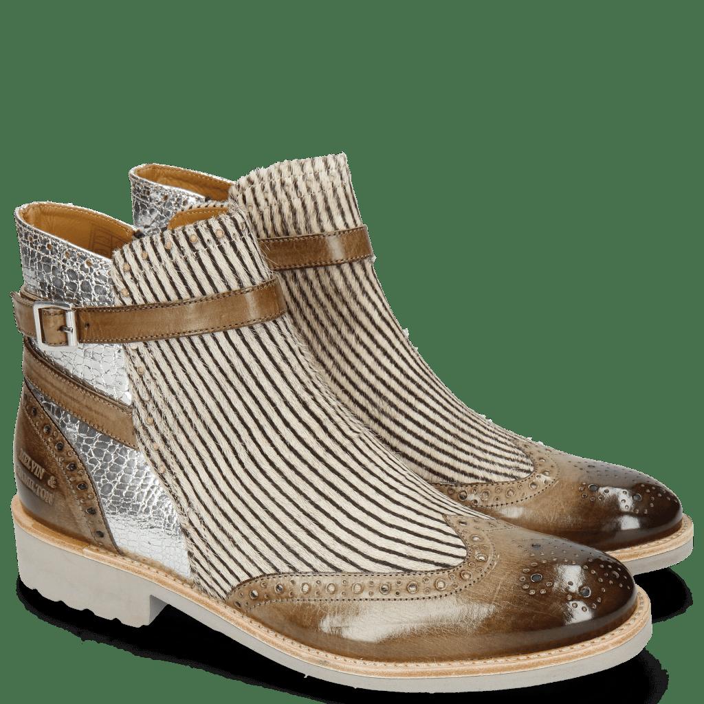 Ankle boots Amelie 11 Grigio Cromia Black White Hairon Stripes Gunmetal