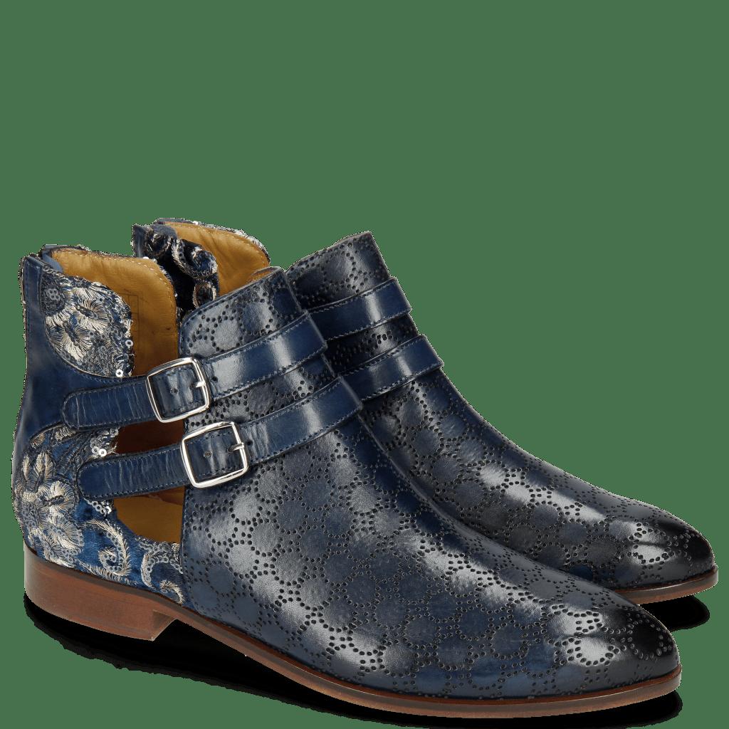 Ankle boots Jessy 19 Perfo Marine Textile Zardosi