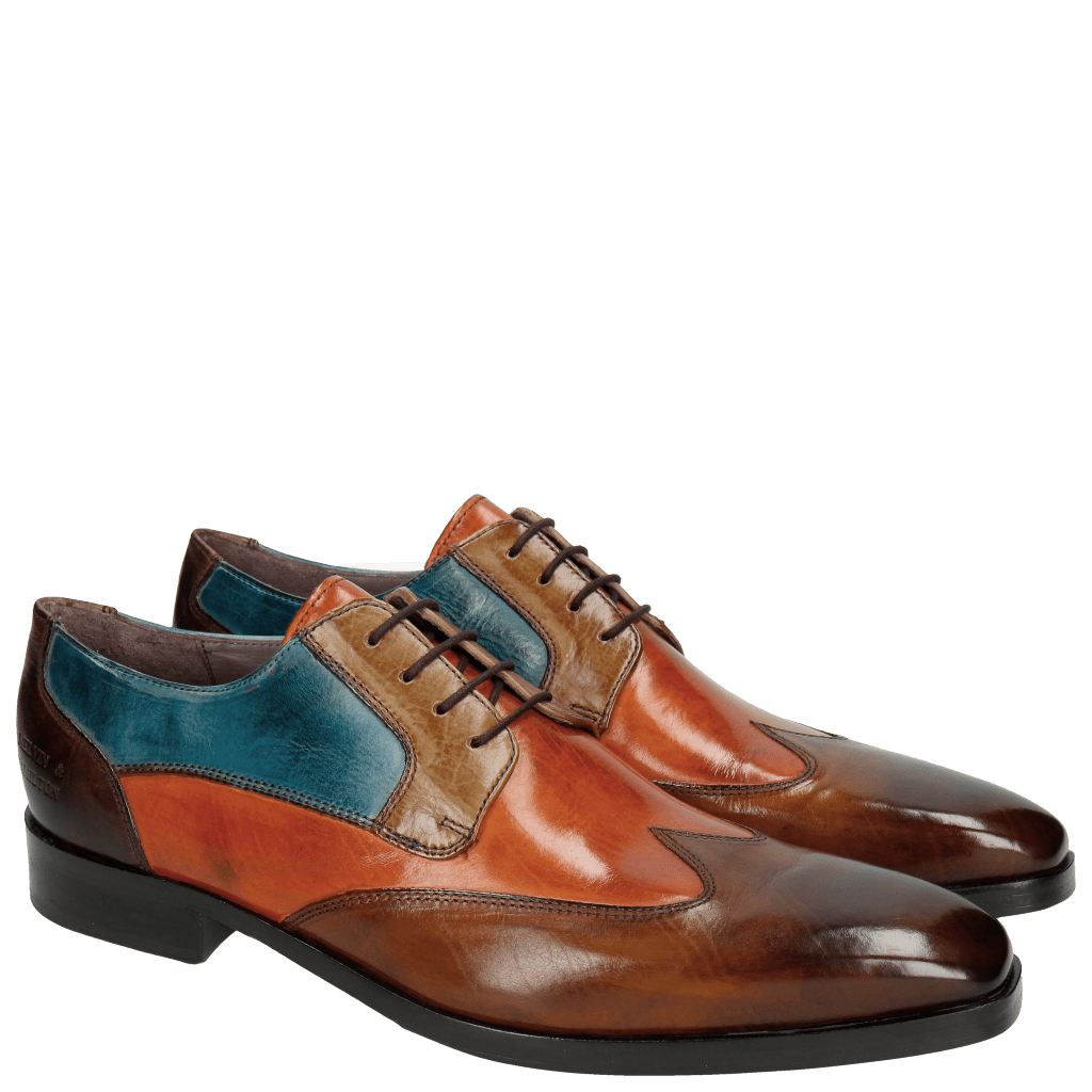 Derby shoes Lance 9 Wood Orange Tortora Bluette Dark Brown HRS