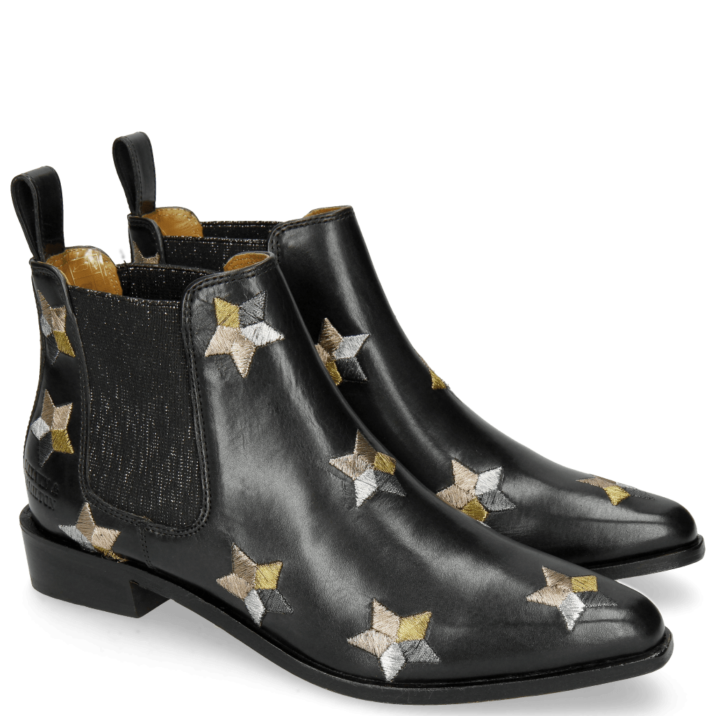 Ankle boots Marlin 4 Black Embroidery Stars