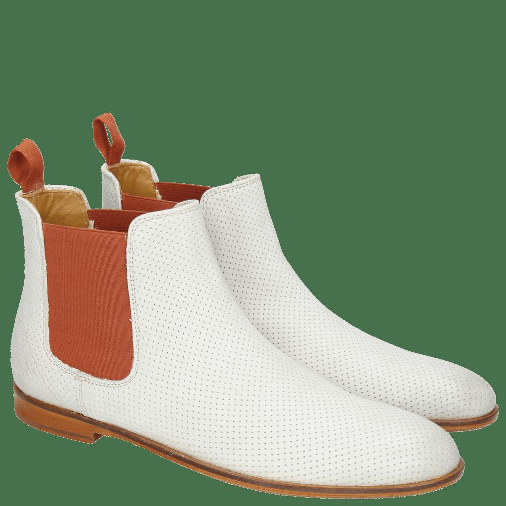 Ankle boots Susan 10 Powder Burnish Perfo White Elastic Orange LS