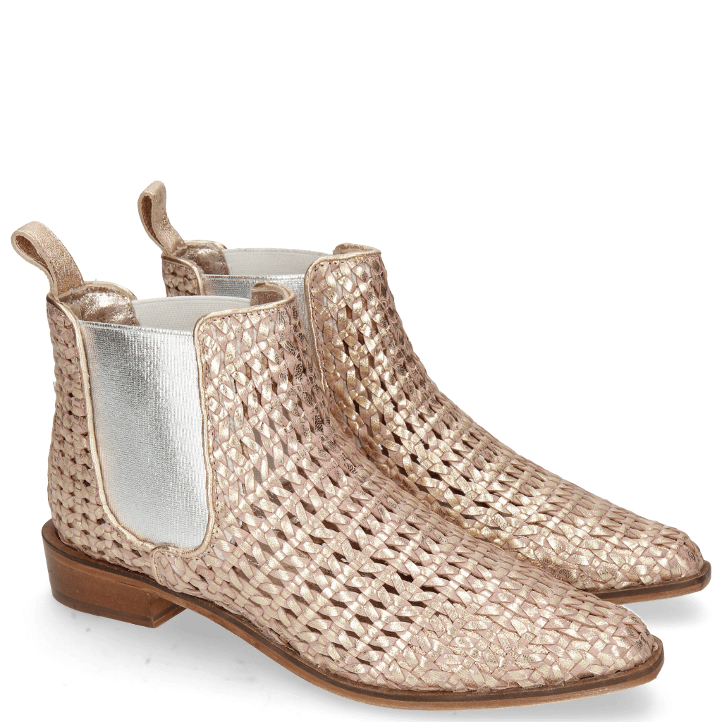 Ankle boots Marlin 4 Woven Crusty Rose Gold Elastic Silver