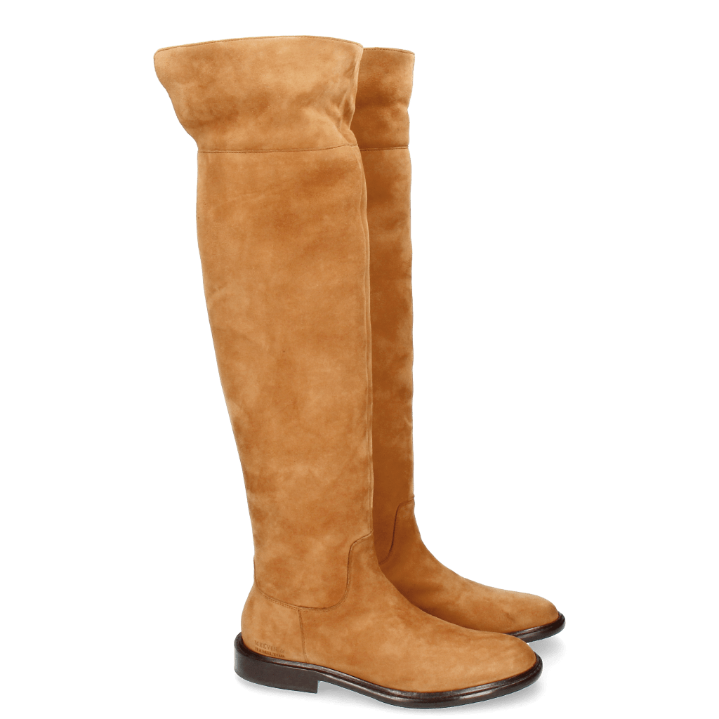 Boots Sally 65 Kid Suede Tan New HRS Thick
