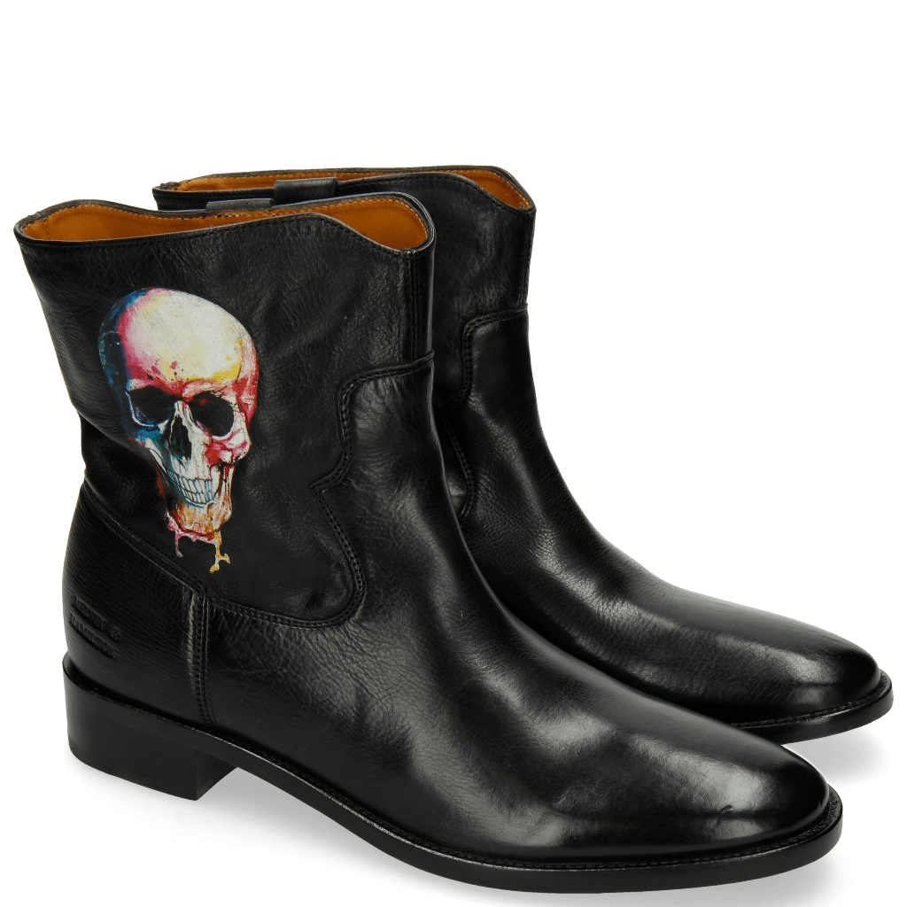 Ankle boots Jodie 8 Milano Black Screen Shot Skull