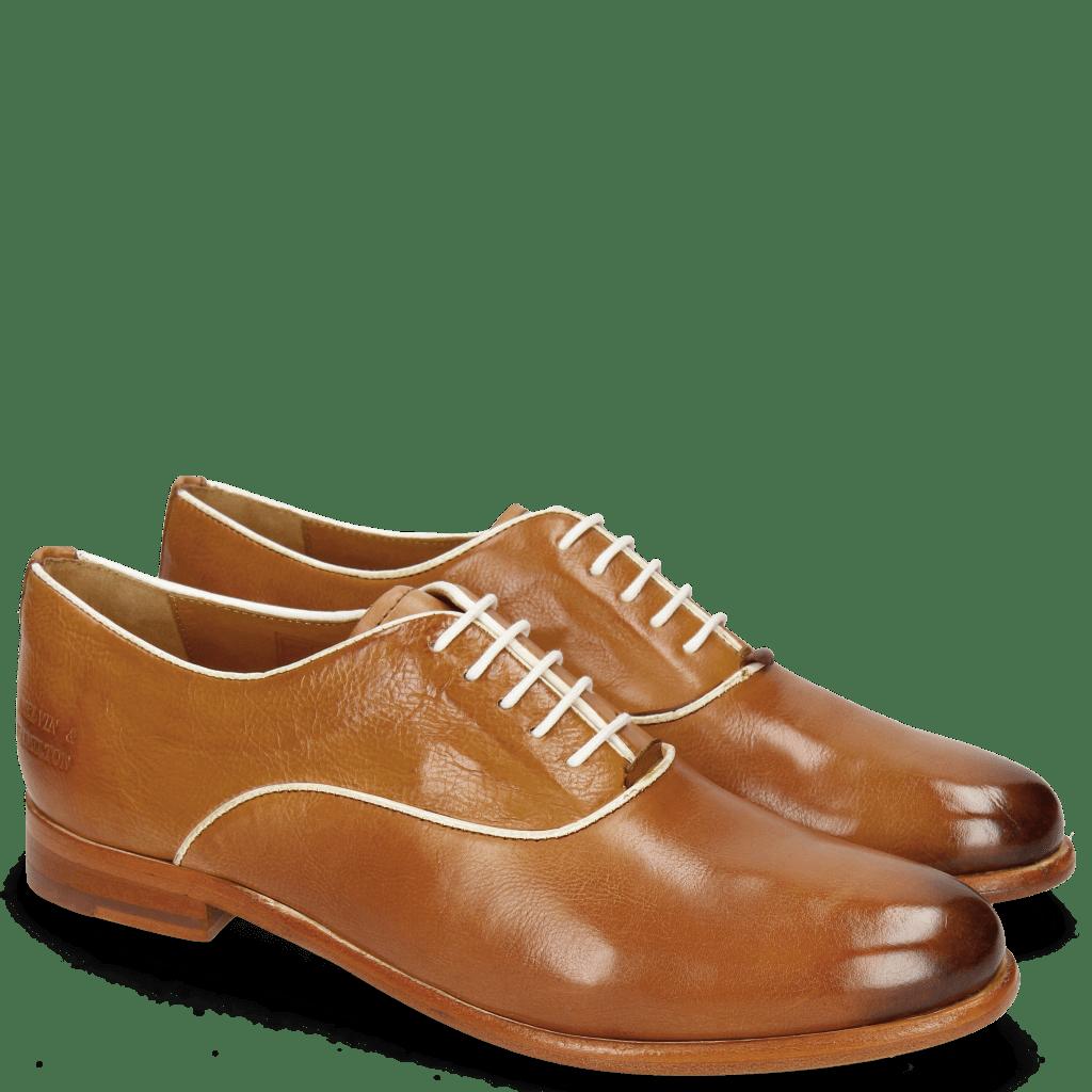 Oxford shoes Selina 4 Pisa Tan Binding Patent White