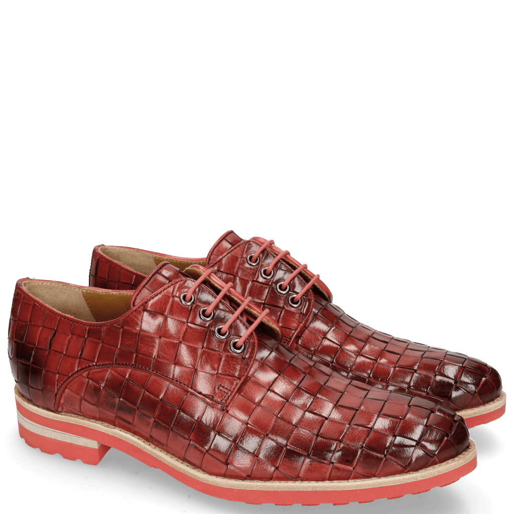 Derby shoes Brad 7 Woven Ruby Lining Rich Tan