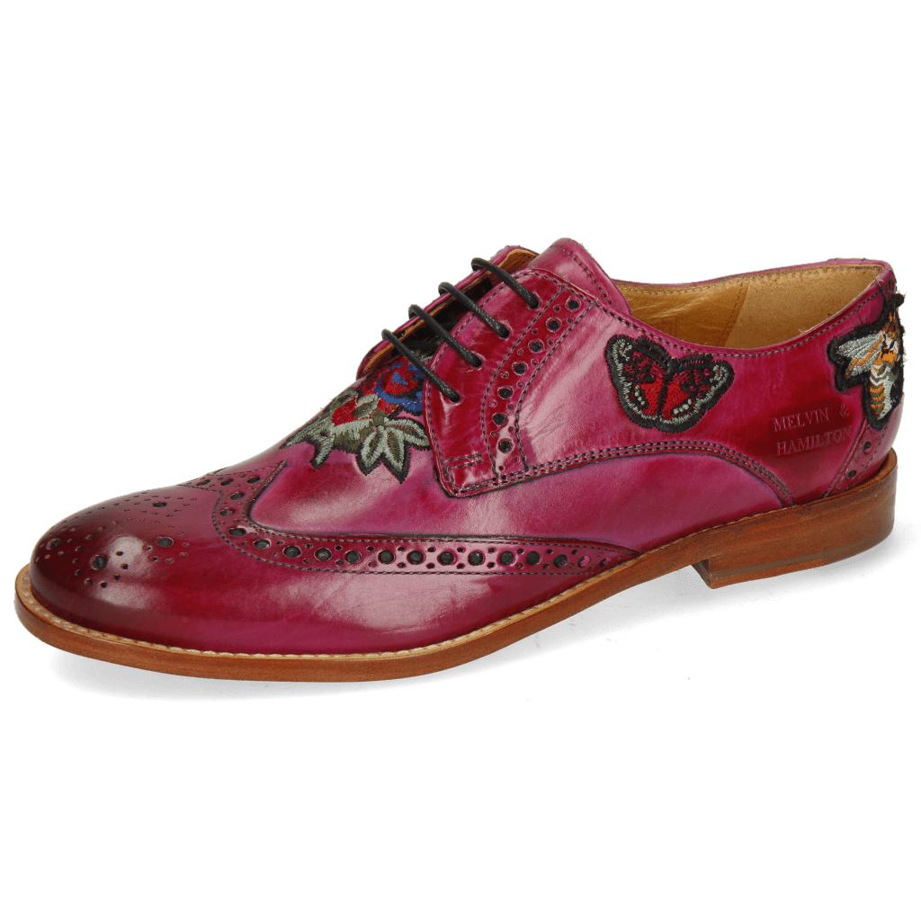 Derby shoes Amelie 46 Dark Pink Embroidery