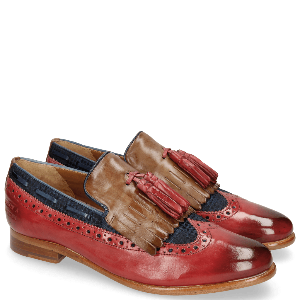 Loafers Selina 3 Ruby Mid Brown Textile Dots Blue