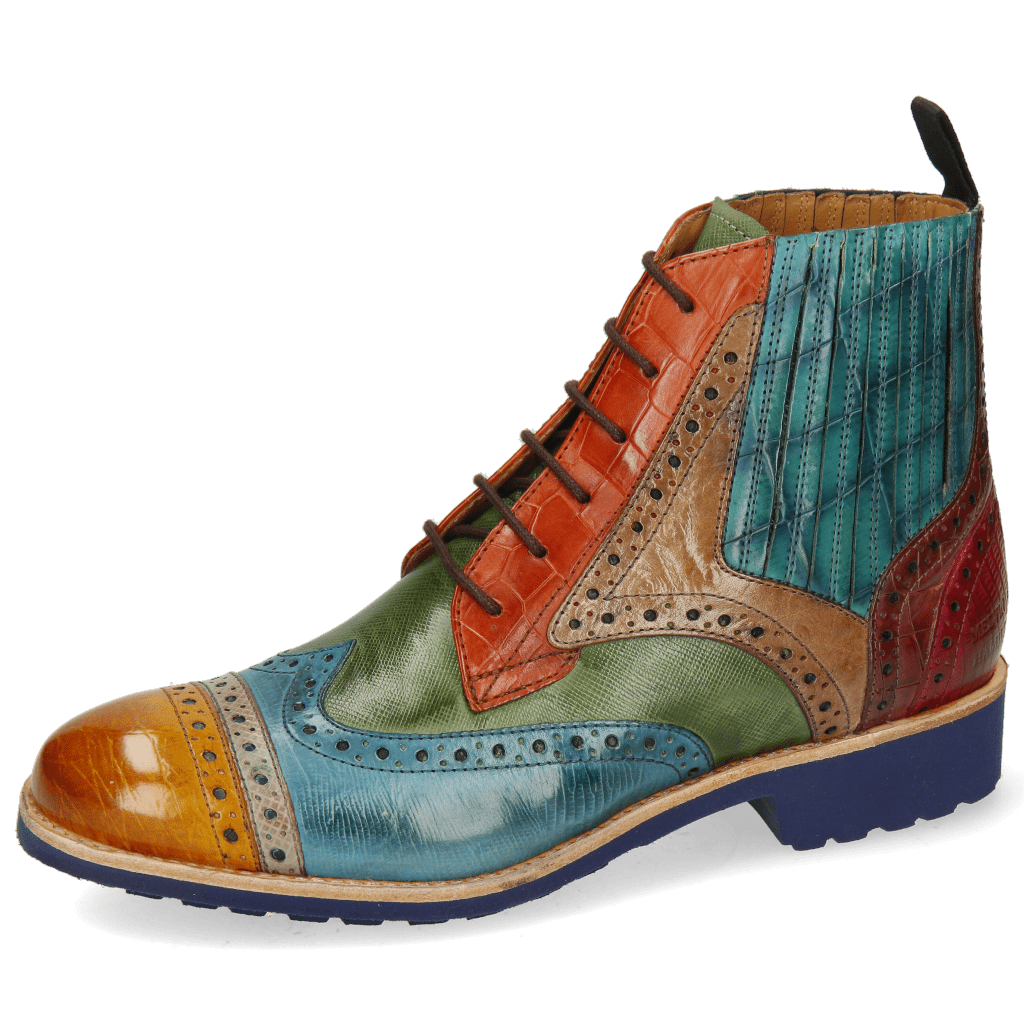 Ankle boots Amelie 17 Croco Yellow Dark Finishing Guana Mid Blue