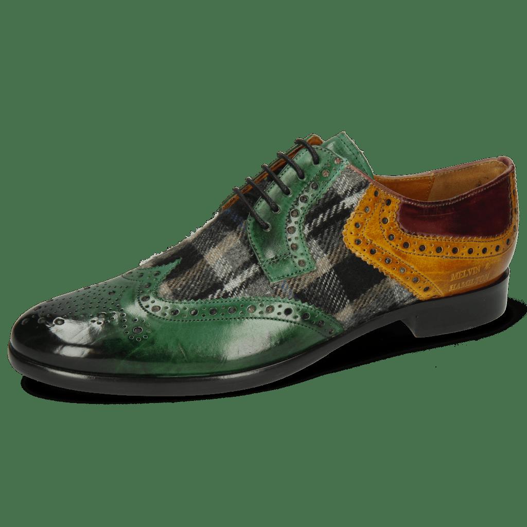 Derby shoes Clint 19 Pine Textile Crayon Olivine Wine