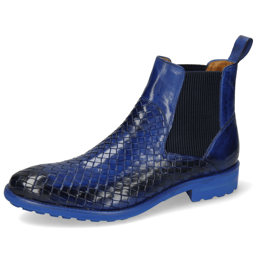 Ankle boots Brad 9 Woven Electric Blue Elastic Ribbed
