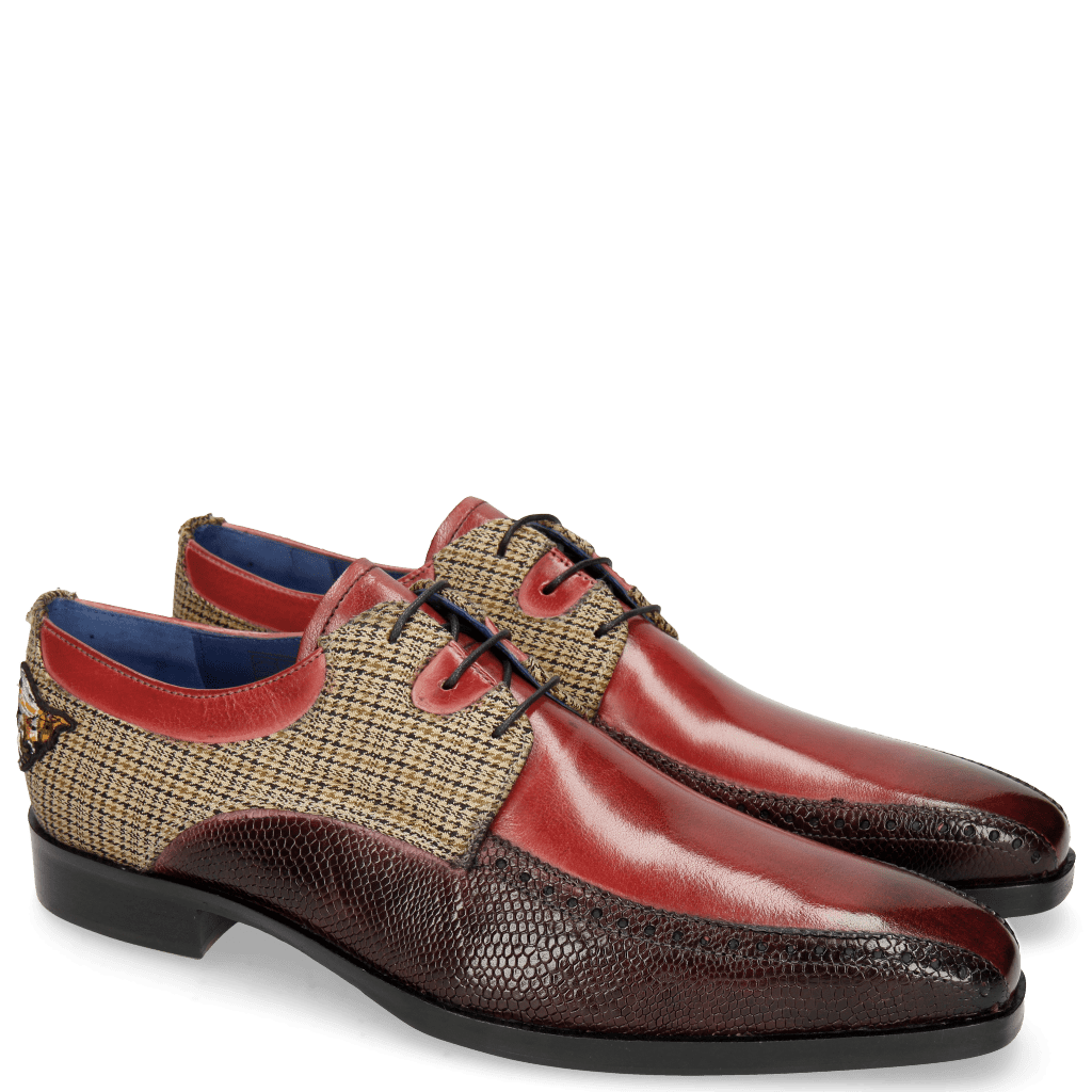 Derby shoes Lewis 28 Rich Red Phyton Burgundy Textile English