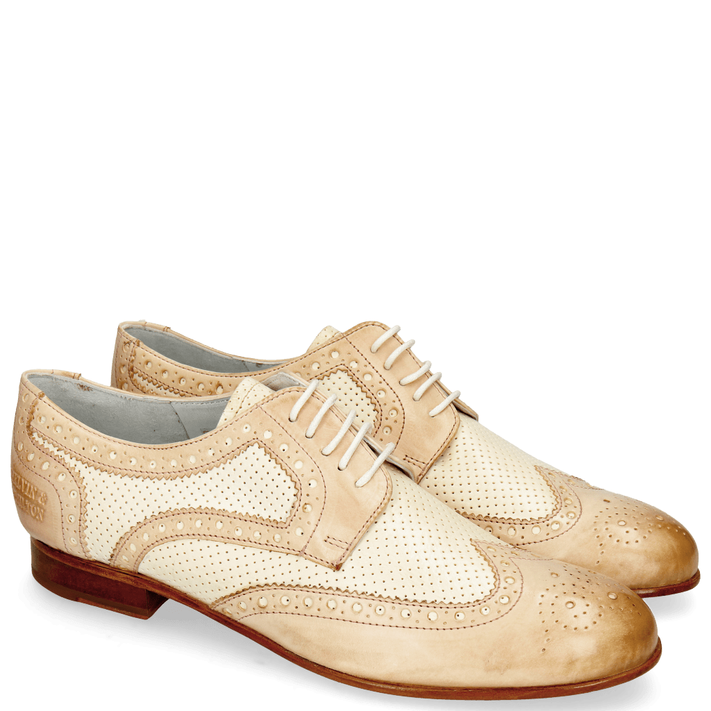 Derby shoes Sally 66 Vegas Rose Perfo White