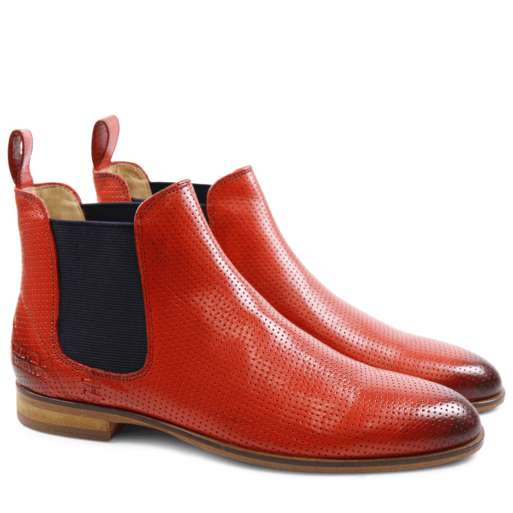 Ankle boots Susan 10 Salerno Perfo Coral Elastic Navy LS