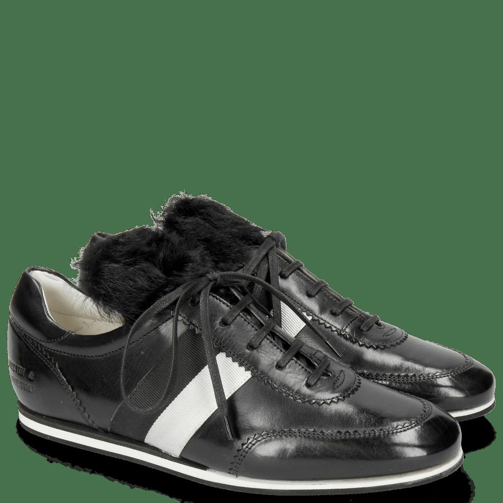 Sneakers Pearl 2 Black Lycra Fur Saderkan Silver