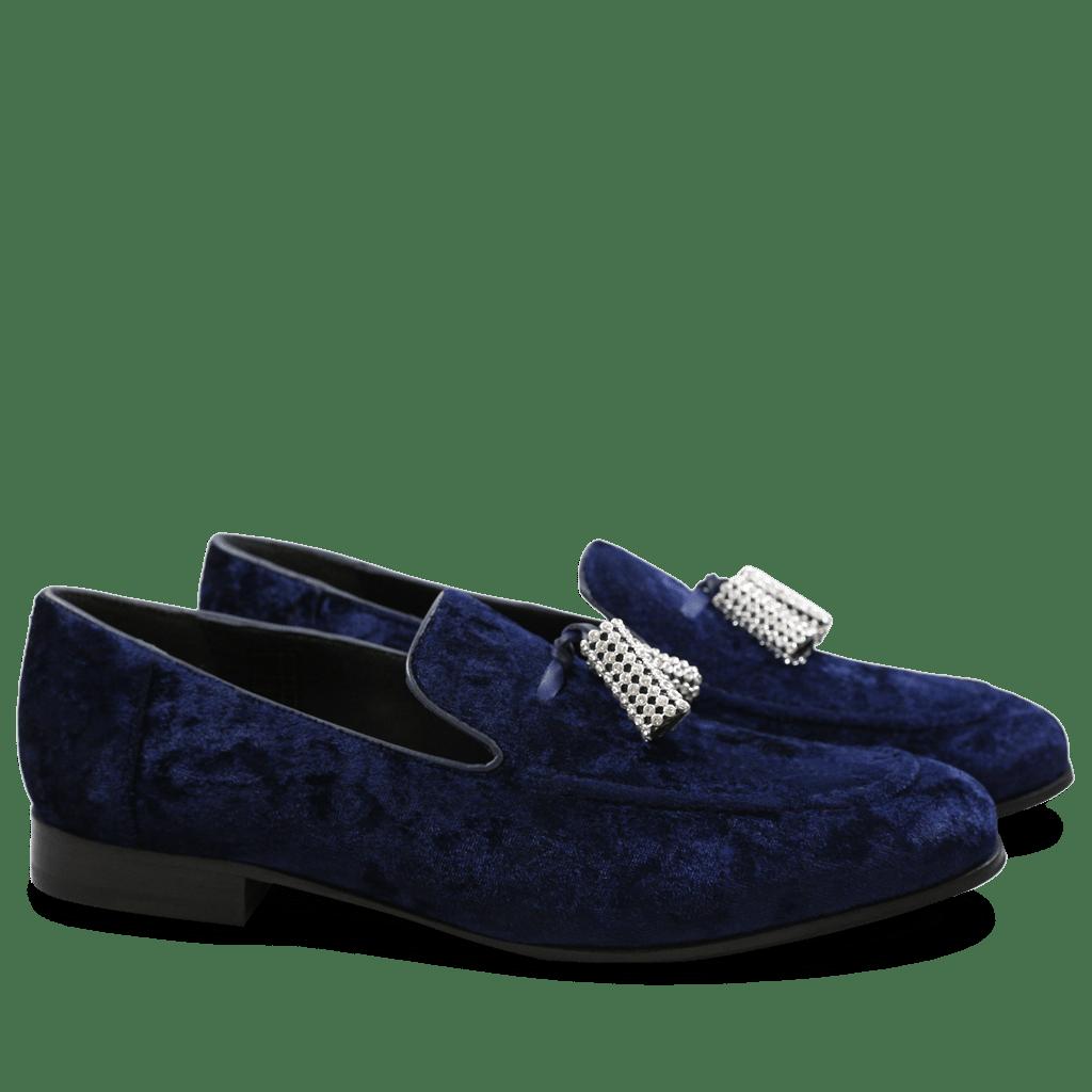 Loafers Claire 10 Velvet Navy Tassel Stones
