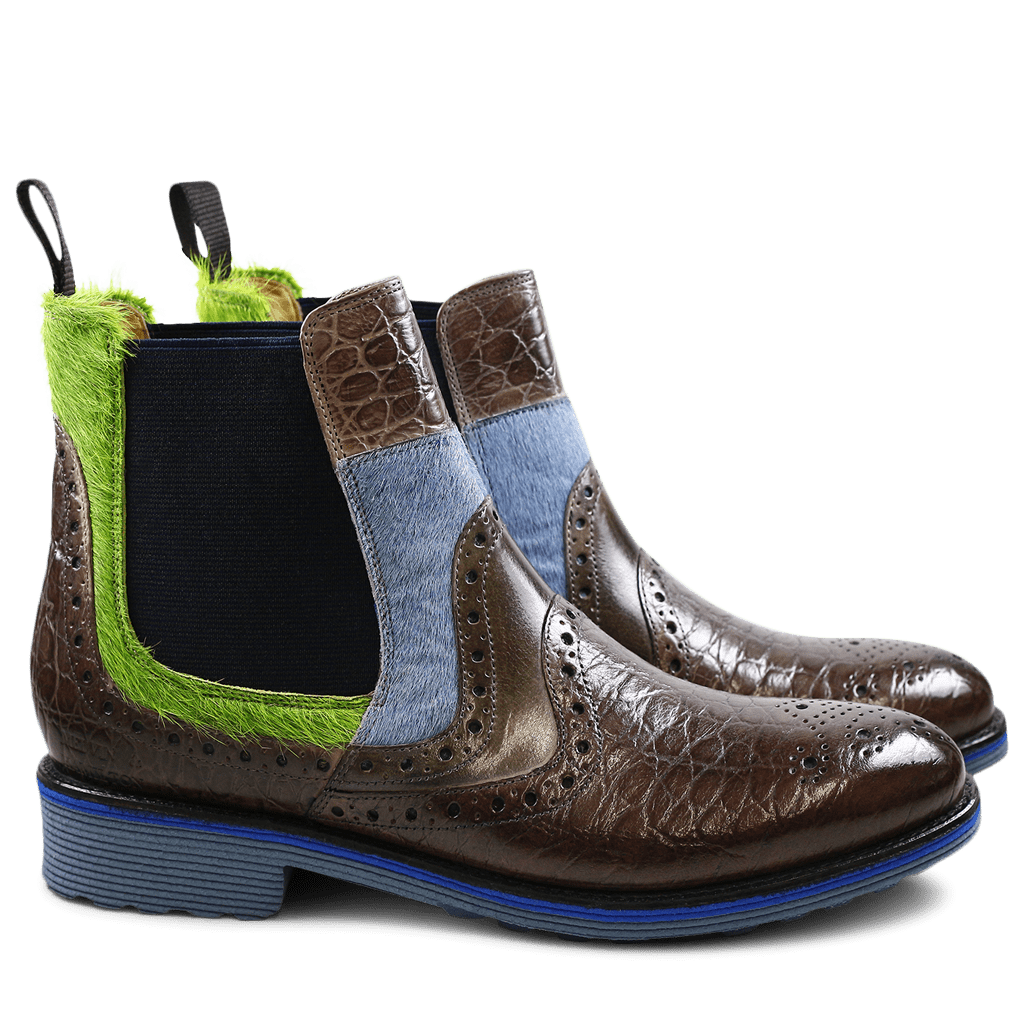 Ankle boots Amelie 31 Croco Classic Hair On Stone Grey Ice Blue Green Elastic Navy Rook D Jeans EVA Blue
